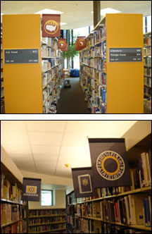 photo of iconographic banners hanging in the library