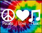 Picture of peace sign, heart, and music notes.